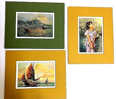 "Vietnam Print Signed Painting Set 3 Vintage 60s-70s Excellent Cond. 4"" x 6"" Each"