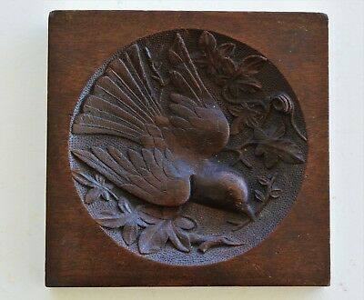 Antique Black Forest Hand Carved Wood Plaque ~ Dove With Olive Branch