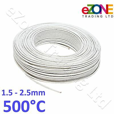 Oven Fryer High Temperature Wire 500° Heat Resistant Glass Fibre Cable 100m Roll