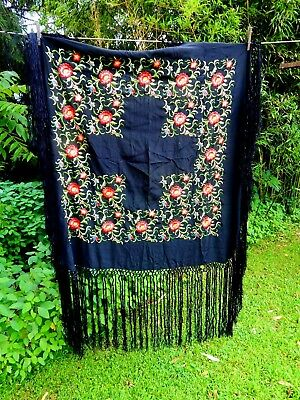 """Antique Embroidered Black Silk PIANO SCARF Shawl Tablecloth 38"""" Fringe Canton"""