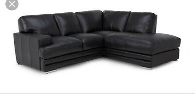 Groovy Dfs Black Leather Corner Sofa And Storage Footstool Quick Andrewgaddart Wooden Chair Designs For Living Room Andrewgaddartcom
