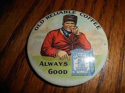 Antique OLD RELIABLE COFFEE Advertising Celluloid Pocket Mirror GREAT GRAPHICS