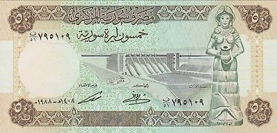 Syria 50 Syrian Pounds Banknote 1988 Uncirculated Condition Cat#103-D-109