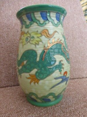 Charlotte Rhead  Green Dragon or Manchu Vase by Crown Ducal excellent condition