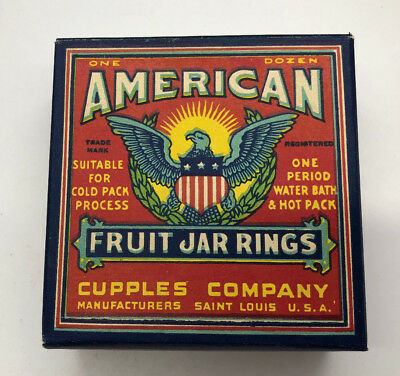 "MINT NOS American Fruit Jar Rings; 1940s WWII Eagle; Vibrant Colors Just ""Pop"""