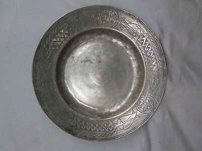 Rare Antique Early Ottoman Tinned Copper Dish Plate Tray Engraved Tulips 17-18 c