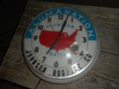 Vintage Original ALUMANATION JOHNSON Roofing Advertising Lighted Round CLOCK