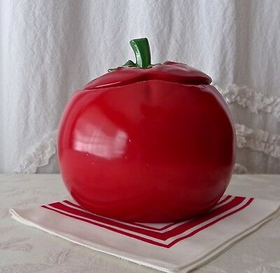 Tomato Cookie Jar Vibrant Red Deep Green Stem Vintage McCoy Pottery 1960s Rare