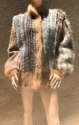 Incredible NANCY PAAP Original Hand-Woven Wool/Silk/Chow Patchwork Style Jacket
