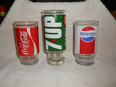 Lot of 3 Vintage Soda Glasses--Coca-Cola, Pepsi & 7 UP