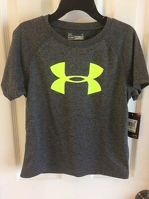 Under Armour Little Boy Solid Big Logo T-Shirt Size 4 NWT Carbon Heather Gray