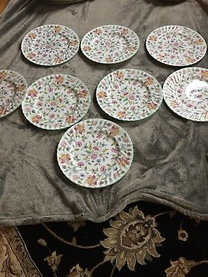 Set Of 8 Minton Haddon Hall Bone China DINNER PLATES - Green Excellent Condition