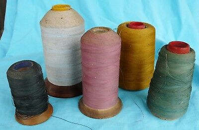 "Antique Vtg~5 Spools of Cotton Thread ~3.5 to 6-1/2"" Tall CARDBOARD & Wood Cones"