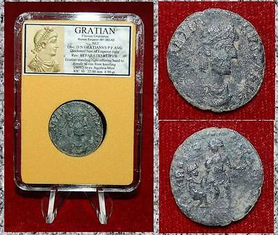 Ancient Roman Empire Coin Of Gratian Emperor Offering Hand To Female On Rise