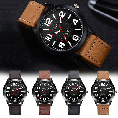 Classic Mens Boys Quartz Watches Dial Analog Leather Strap Sports Wrist Watches