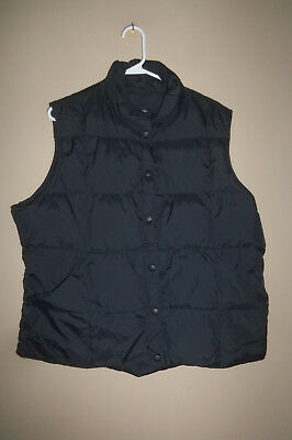 Girls Boys Lands End Black  Down Quilted Puffer Fall Winter Vest Size Xl 18 20