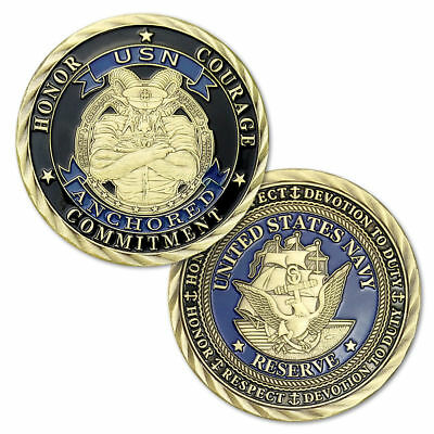 U.S. NAVY Core Values Honor Respect Devotion Commitment Courage Challenge Coin