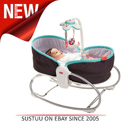 Tiny Love 3in1 Rocker Napper Grey-Turquoise│Musikalisches Spielzeug,hell &