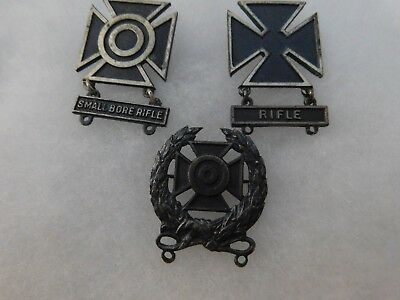 Silver 3 Sterling Marked Us Marksman Badges 2 Wwii Pin Back