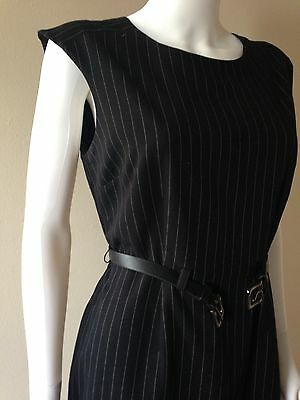 Calvin Klein Womens Shadow Striped Sleeveless Lined Dress Size 10
