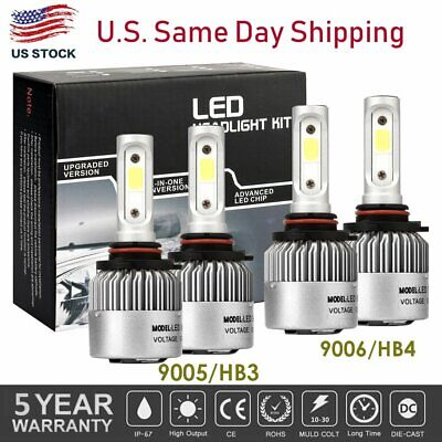 4Pcs 9005+9006 LED Headlight Bulb Kit for Chevy Silverado1500 2500 HD 2001-2006