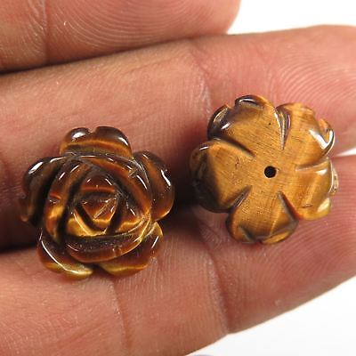"""1 Pair Flower Carved  13.40 Cts 100% Natural TIGER""""S EYE  Gemstone 15x15 mm"""