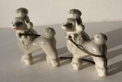 White French Poodle Dogs w-Chain-Set of 2 Vintage Retro Ceramic-Porcelain-CUTE
