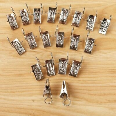 20 Pcs Metal Stainless Steel Window Shower Curtain Rod Clip Rings Drapery Clips