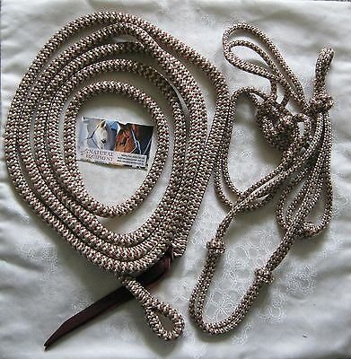 Brown & Beige Zig Zag Rope Halter with 14ft Lead with Loop by Natural Equipment