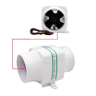 "12V 3"" In-Line Boat Bilge Blower Vent Fan Ventilator for RV Caravan 130CFM"