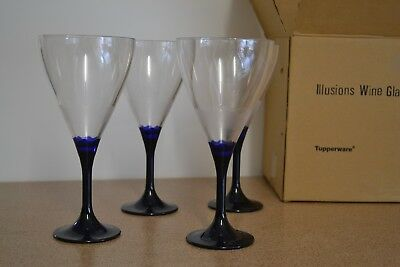 Tupperware Illusions Table Wine Glass set of 4 **NEW** Royal Blue