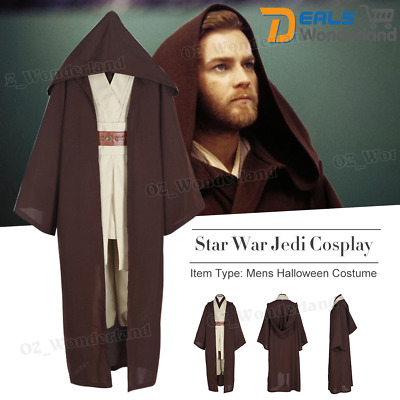 Mens Star Wars Robe Obi-Wan Kenobi Jedi Cosplay Cloak Costume Complete Suit