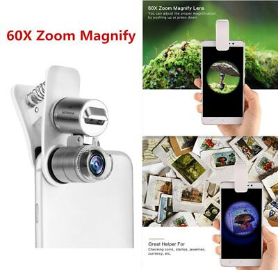 60X Optical Zoom Camera Clip Telescope Microscope Lens for Cell Phone Durable