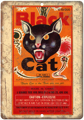 """Black Cat Firecrackers Package Art 10"""" X 7"""" Reproduction Metal Sign ZD46"""