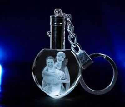 Personalized Photo Engraved Heart Key Chain Memorial service/ Funeral giveaway