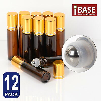 12x Roll on Ball Bottle 10ml Amber Glass Roller Rollerball Perfume Essential Oil