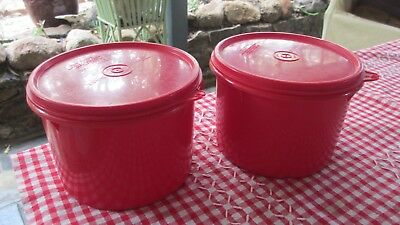 Vintage Tupperware Red Canisters x 2 seal well Tea ,Coffee & More