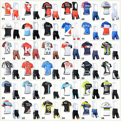 New 2018 Gel Padded Cycling Bike Team Clothing Jersey Shirts Padding Short Kits