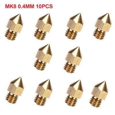 10pcs 0.4mm MK8 Extruder Nozzle For 3D Printer Makerbot Creality CR-10S S4 S5 CH