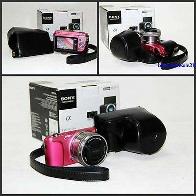 black leather case bag grip cover for Sony Alpha A5100 A5000 camera16-50mm lens