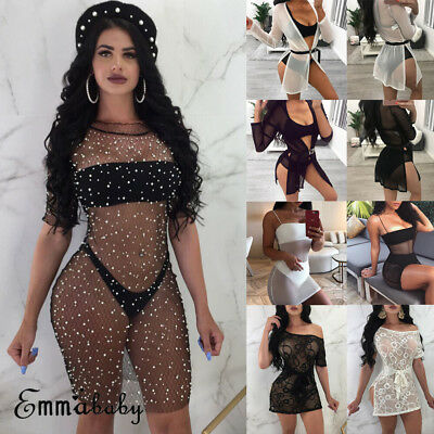 US Womens Summer Lace Fishnet Bikini Cover Up Swimwear Bathing Suit Beach Dress