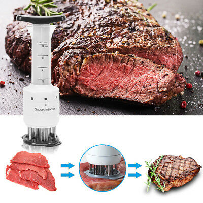 Sauces Meat Injector Tenderizer Marinator with 30 Stainless Steel Needles