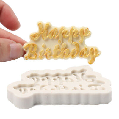 3D Happy Birthday Letter Silicone Fondant Cake Mold Chocolate Baking Mould New