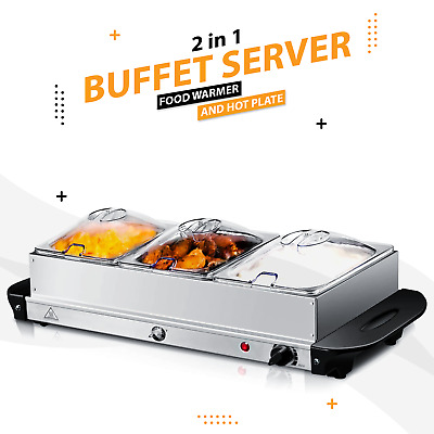 200W S/s Steel Food Warmer Buffet Server Adjustable Temperature Hot Plate Tray