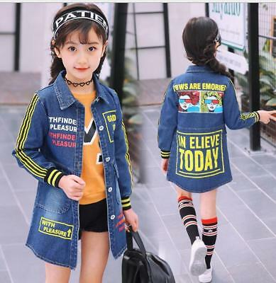Spring Girls Faded Denim Jacket Kids School Outdoor Princess Casual