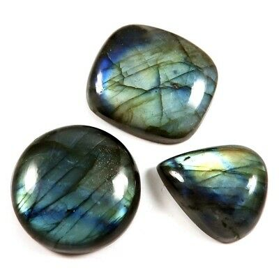 180.95 Natural Fine Gemstone Labradorite Mix Loose Cabochon 3 Pcs Wholesale Lot