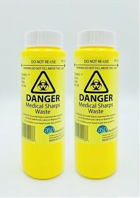 New 2x 250mL Sharps Container Medical Bin