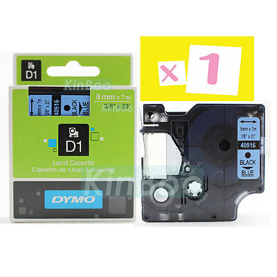 1 Pack Tape Label Compatible for DYMO D1 40916 Black on Blue 9mm 7m