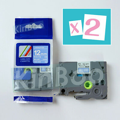 2 Pack Tape Label Compatible for Brother P-Touch TZ TZe 535 White on Blue 12mm