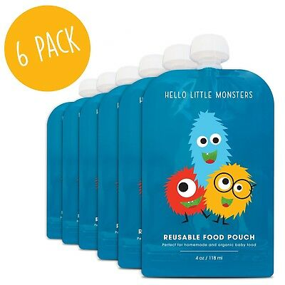 Reusable Baby Food Pouch - 4 fl oz (6 pack) by Hello Little Monsters - BPA Free